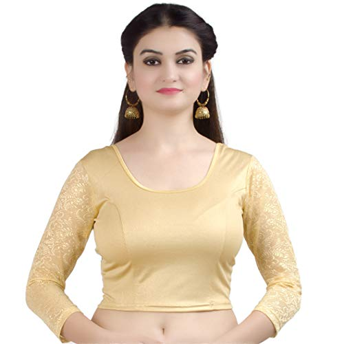 Chandrakala Women's Stretchable Readymade Lycra Gold Indian Ethnic Saree Blouse Crop Top Choli-Medium (B101GOL3)