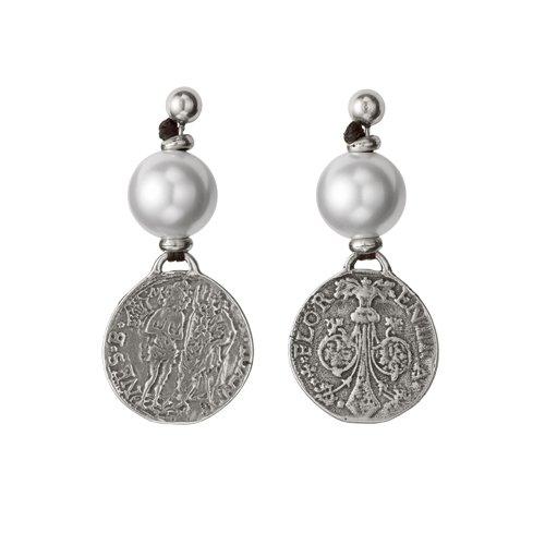 "Earrings ""Uno de 50"" Women Alexandria PEN0247PL coins Pearls"