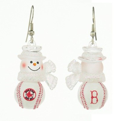 MLB Boston Red Sox Snowman Earrings 1 (Boston Red Sox Snowman)
