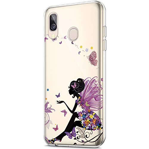 Price comparison product image ikasus Case for Galaxy A40, Crystal Clear Art Panited Design Soft & Flexible TPU Ultra-Thin Transparent Soft Rubber Gel TPU Protective Case Cover for Galaxy A40 Silicone Case, Butterfly Angel girl