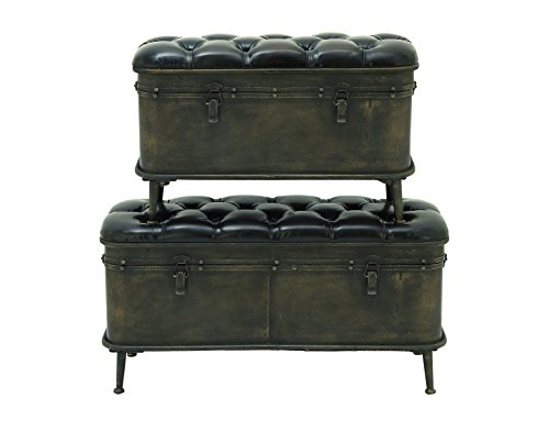 Deco 79 55777 Metal Leather Trunks (Set of 2), (Antique Leather Trunk)