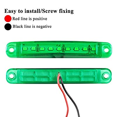Teguangmei 10Pcs 12-24V 3.9'' Thin Green Led Side Marker Indicator Lights 9LED Waterproof for Trailer Clearance Lights Truck Position Lights Lorry Warning Lights: Automotive