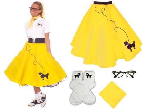 [Hip Hop 50s Shop Adult 4 Piece Poodle Skirt Costume Set Yellow XSmall/Small] (Dance Costumes Uniform)