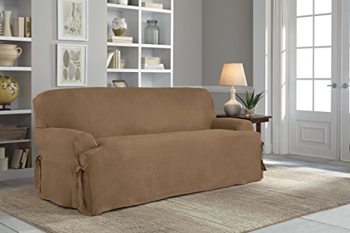 Serta Relaxed Fit Smooth Suede Furniture Slipcover for T-Sofa, Taupe - Furniture Covers Soft Suede