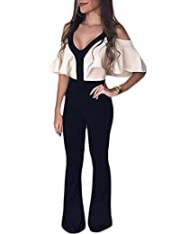 Suvimuga Womens V-Neck Cold Shoulder Ruffle Straight Long Pants Rompers Jumpsuits