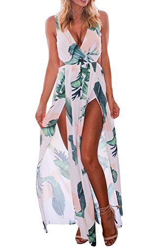 Verano De Mujer Cuello V Profundo Playa Cover Split Maxi Vestido De Fiesta White