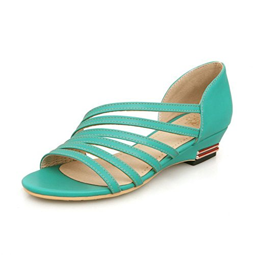 Mujer Zapatos de Superficial QXH Sandalias Cuero Pisos Boca Redonda Green de de Cabeza EBdnq