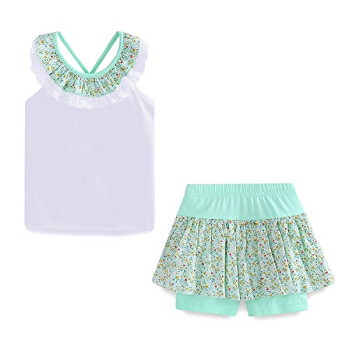 - LittleSpring Toddler Girls Summer Outfit Floral Top and Shorts Set White-Green Size 4T