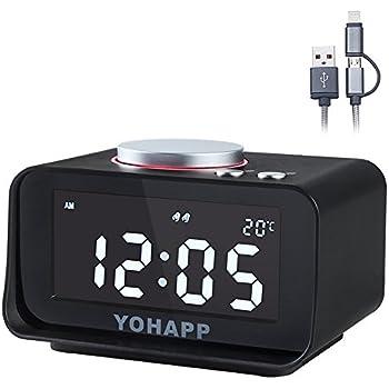Amazon.com: YOHAPP Digital Alarm Clock Radio, Dual Alarm, with Dual ...