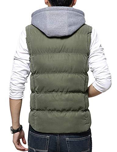 Verde Verde REI Jackets Occidentale Ennesimo Comode Comode Comode in Autunno Abiti Vest M Cappotto Cotone Down Taglie di Maniche con Cappuccio Chiusura Uomo Vest Inverno del aAwUq8wB