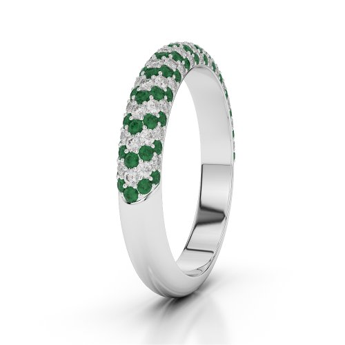 G-H/VS 0,75ct Coupe ronde Certifié Émeraude et diamants en platine 950Agdr-1118