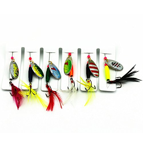 EDTara Fishing Lure Spinnerbait Metal Spoon Bait Spinnerbait with Colorful Feather Treble Hooks Fishing Bait 6 Pcs