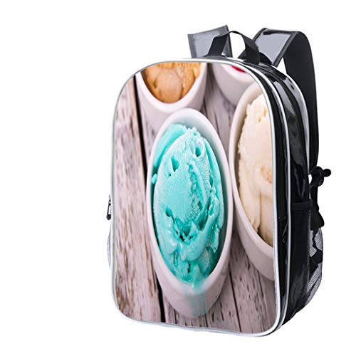 High-end Custom Laptop Backpack-Leisure Travel Backpack Happy Tropical Flavor ice Cream Water Resistant-Anti Theft - Durable -Ultralight- Classic-School-Black ()
