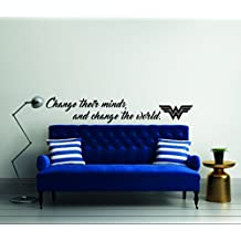 """Change Their Minds And Change The World Quote Wonder Woman Mural Wall Decal For Home Bedroom Living Room (Wide 40"""" x 7"""" Height)"""