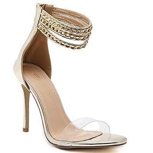 ZHZNVX Zapatos de Mujer PU Primavera Verano Bomba Básica Comfort Sandalias Stiletto Talón for Casual Oro Plata,Plata,US8/UE39/UK6/CN39