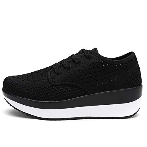 Qiusa Zapatos Malla Negro 37 de Zapatillas de de Blanco tamaño cuña Color Transpirable EU Las de de Plataforma Deporte Mujeres ddnHUvqrz
