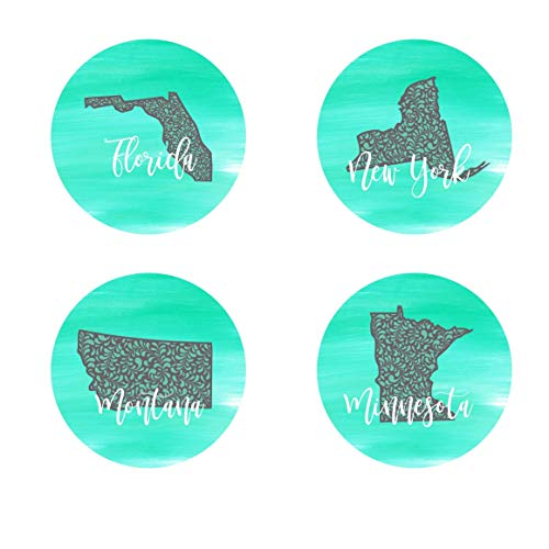 (Teal & Grey State Car Coasters Sandstone Personalized (Set of 2))