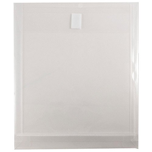 "JAM Paper Plastic Envelopes with VELCRO Brand Closure - 1"" Expansion - Letter Open End - 9 3/4"" x 11 3/4"" - Clear - 12/pack"