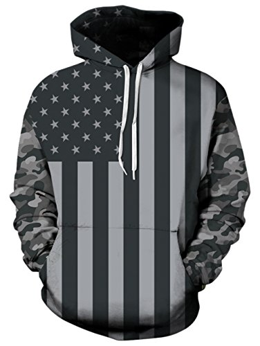 RAISEVERN Unisex Hoodie American Flag Pullover Funny Black & White Stars Striped Hooded Sweatshirts with Pockets for Womens/Mens
