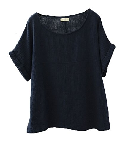 - Soojun Women's Solid Round Collar Linen Tops Patchwork Shirts Blouses Navy, Large