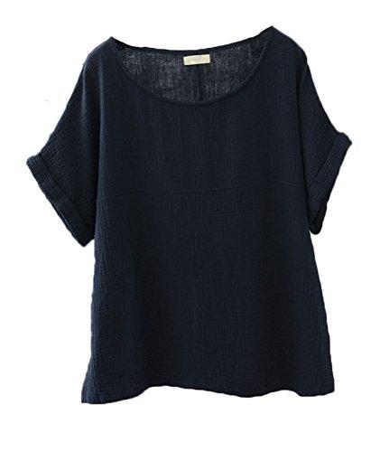 Soojun Women's Solid Round Collar Linen Tops Patchwork Shirts Blouses Navy