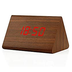 GEARONIC TM Modern Triangle Wood LED Wooden Alarm Digital Desk Clock Thermometer Classical Timer Calendar Updated 2018 Brighter LED - Brown