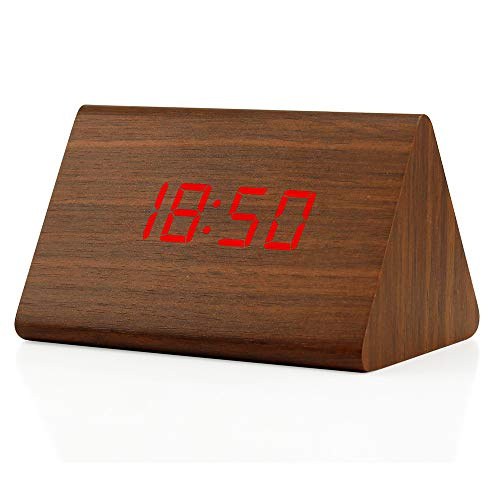 Oct17 Wooden Wood Clock, 2019 New Version LED Alarm Digital Desk Clock 3 Levels Adjustable Brightness, 3 Groups of Alarm Time, Displays Time Date Temperature - Brown (Red Light)