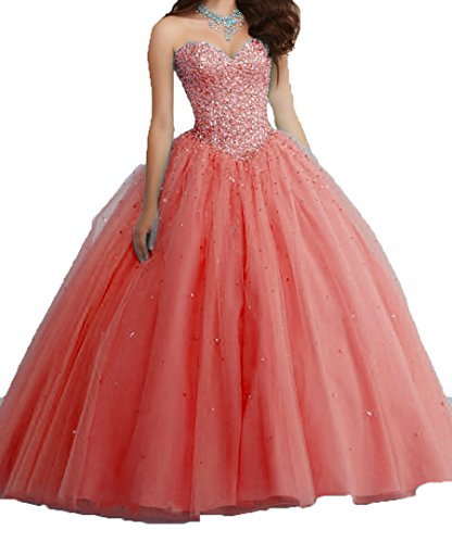 Ball Crystals Tulle Quinceanera Sequins Dresses Sweet DKBridal Gown Sweetheart Coral 16 1wS8q1g