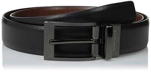 Perry Ellis Men's Portfolio Zeus Etched Buckle Reversible Belt, Black/Brown, 30 Black Leather Etched Buckle Belt
