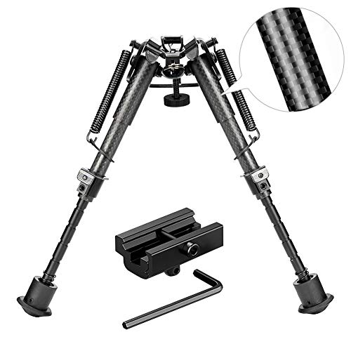 Rifle Bipod Gun Bipod Tactical Hunting Bipod 6-9 Inches Carbon Fiber Bipod with 22mm Picatinny Rail Mount Adapter for Hunting Shooting (Carbon Fiber)