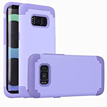 For samsung galaxy s8 Case, iBarbe Protective Dual Layer 2 in 1 Reinforced Flexible Soft rubber Silicone + Hard Plastic PC Shock-Proof Bumper Scratch-Resistant Shell corver (purple)