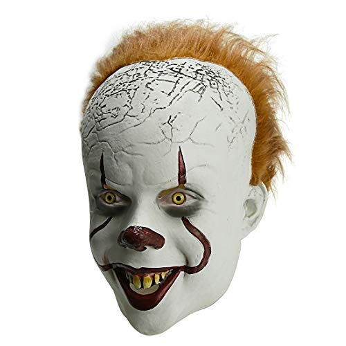 Halloween Pennywise Scary Clown Mask Costume,Cosplay Party Decoration Halloween Prop for Adult Children Toy Trick(It: Chapter Two) Silver