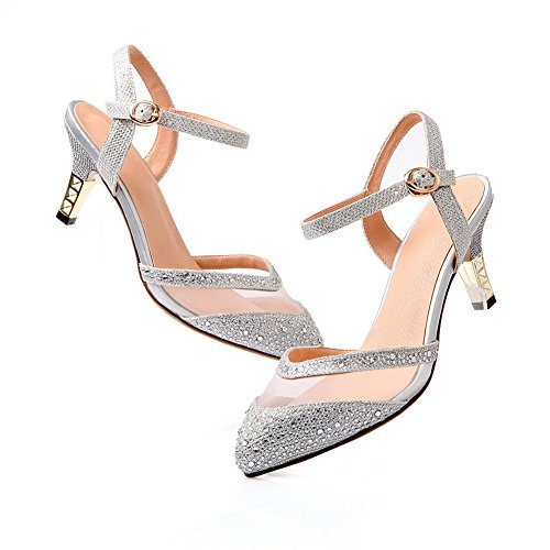 Closed Soft Women's Pumps Pointed Heels Solid Silver WeenFashion Shoes Material Buckle Toe Kitten CBXqAAw