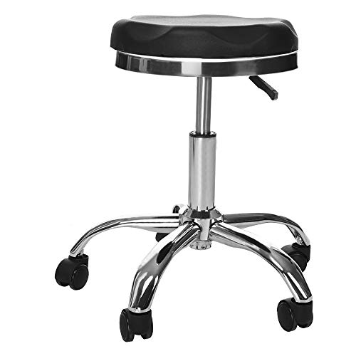 Lift Ergonomic Salon Massage Stool Office Beauty Work Bench Bar Chair Adjustable Height 360 Degree Rotation Rolling Swivel Leather Stainless Steel Comfortable Anti-Fatigue Seat