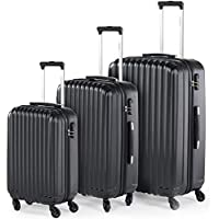 Compaclite Rome 3 Piece Lightweight Spinner Luggage Sets (Black)