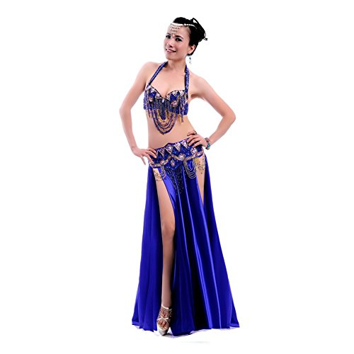 ROYAL SMEELA Women's Belly Dance Costume Set Satin Long Dance Skirts Belly Dance Bra and Belt, Tassel Sexy Belly Dancing Outfit 3pcs, Dark Blue, Small Size