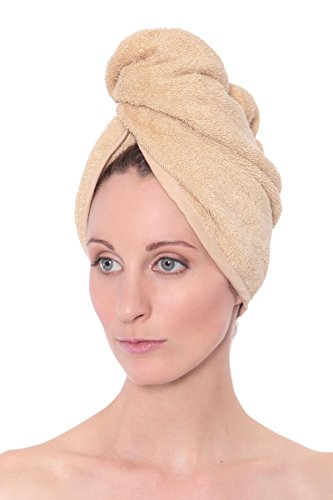 Women's Bamboo Viscose Hair Towel - Hair Drying Towel Wrap by Texere (Almond Buff, Unisize) Holiday Gift Ideas for Women AB0101-ABF-U (Bamboo Wrap)