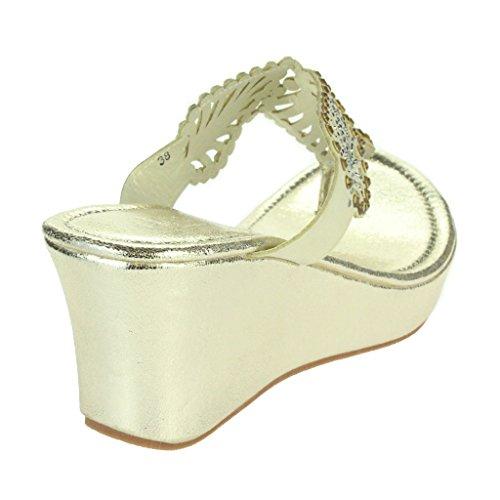 Mujer Señoras Diamante Detalle de hoja Toe Post Noche Casual Comodidad Ponerse Tacón de cuña Sandalias Zapatos Tamaño Oro
