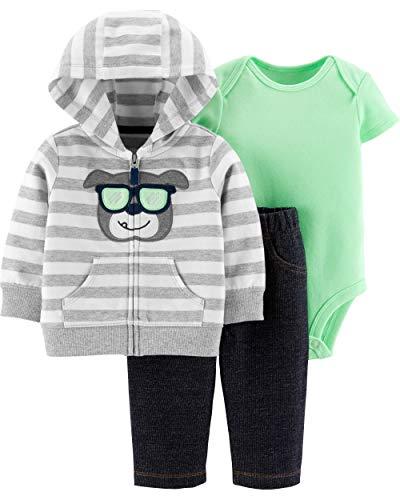 Carter's Baby Boys` 3-Piece Little Jacket Set (Newborn, Mint/Heather Puppy)