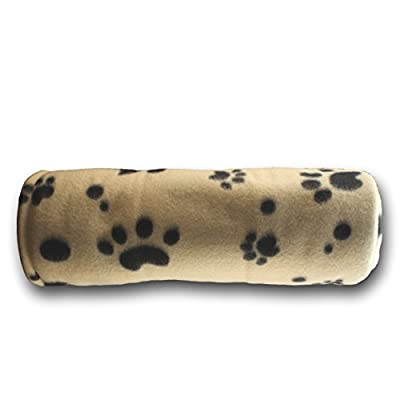 Large Fleece 60 x 39 Inch Pet Blanket with Paw Print Pattern - Animal Supplies by bogo Brands