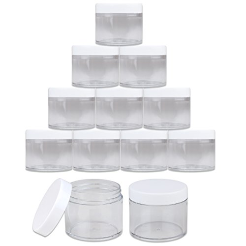 Beauticom 12 PIECES 60 Grams/60 ML (2 Oz) Leak Proof Round Acrylic Container Jars with Screw Cap Lids for Beauty Cosmetic Jewelry Charms Rhinestones (Clear Base with White ()