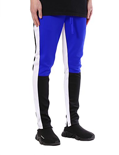 JD Apparel Men's Color Block Track Pants/Zip Bottom S Royal