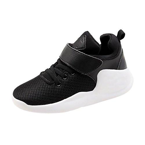 Haodasi Kinder Kids Mädchen Jungen Mesh Oberfläche Breathable Schuhe Laufen Sport Turnschuhe Black