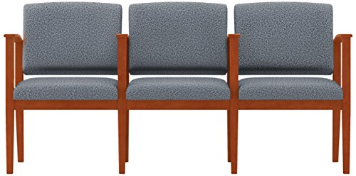 Lesro Amherst Wood 3 Seats with Center Arms in Cherry Finish, Tendril Denim