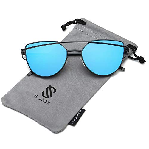 SOJOS Cat Eye Mirrored Flat Lenses Street Fashion Metal Frame Women Sunglasses SJ1001 with Black Frame/Blue Mirrored Lens