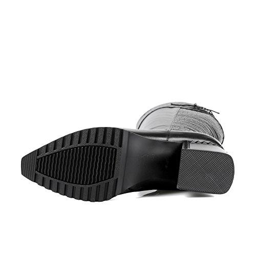Minivog Plate-forme Épaisse Talon Bloqué Mi-bas Femmes Bottes Noires