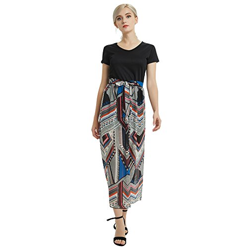 Full Chiffon Prom Skirt Dress (Gerneric Women Skirt Chiffon Floral Print Elastic High Waist Long Maxi Dresses,Black,X-Large)