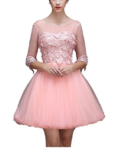 Bright Ärmelstulpe Great Minikleid DL0002 Lace Cocktailkleid Damen Hellrosa mit TddZqY