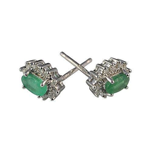Boucles d'oreille Femme - Or blanc (9 cts) 1.36 Gr - Emeraude - Diamant 0.23 Cts