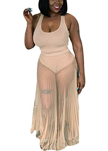(Womens 2 Piece Mesh See Through Pleated U-Neck Bikini Bodycon Maxi Long Skirts Set Summer Beachwear Swimsuits Big Swing Party Club Dress Beige S)